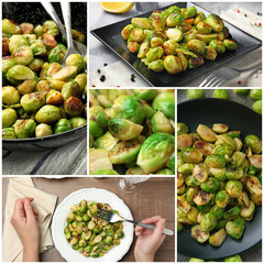 Collage with roasted Brussel sprouts
