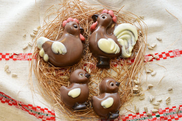 Chocolate chicken family in the rural decorations
