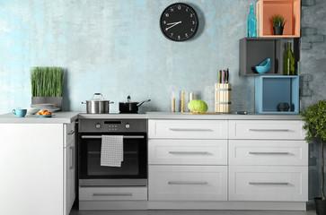 Modern kitchen interior with new oven