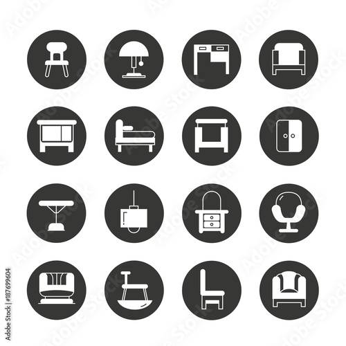 Furniture And Home Decor Icons Stock Image And Royalty Free Vector