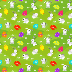 Happy easter. bright seamless background with rabbits