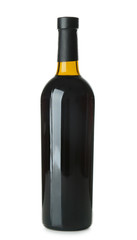 Bottle with red wine on white background