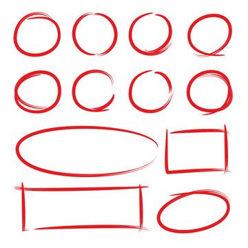 red hand drawn market frames