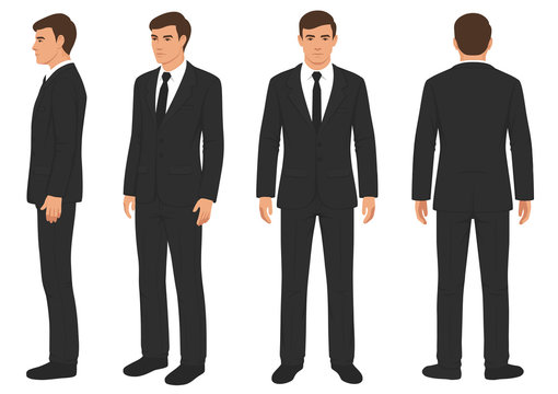 fashion man isolated, front, back and side view, vector illustration, businessman in suit