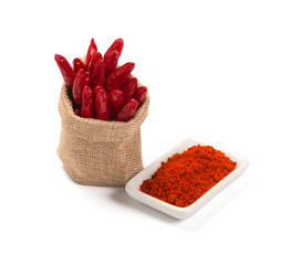Bowl of ground red pepper spice in bowl isolated on white