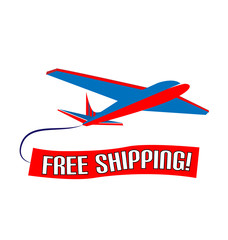Air plane free shipping slogan vector design