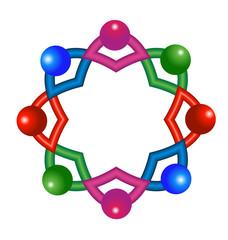 Vector of abstract atomic molecular team laboratory icon logo
