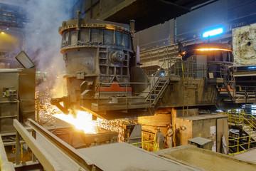 Stahlherstellung an der Stranggußanlage