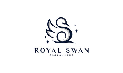 Luxury and Elegant Swan logo designs in line art style vector illustration