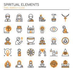 Spiritual Elements , Thin Line and Pixel Perfect Icons.