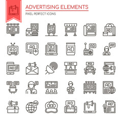 Advertising Elements , Thin Line and Pixel Perfect Icons.