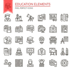 Education Elements , Thin Line and Pixel Perfect Icons.