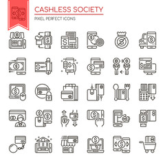 Cashless Society , Thin Line and Pixel Perfect Icons.