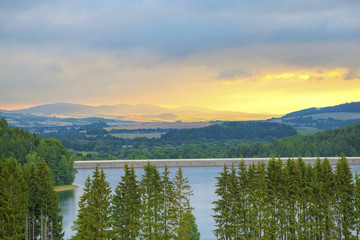 View of Nyrsko dam in Czech Republic with beautiful landscape