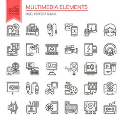 Multimedia Elements , Thin Line and Pixel Perfect Icons.