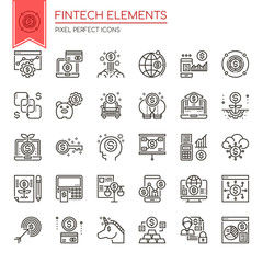 Fintech Elements , Thin Line and Pixel Perfect Icons.