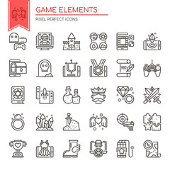 Game Elements , Thin Line and Pixel Perfect Icons.