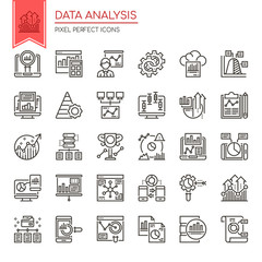 Data Analysis , Thin Line and Pixel Perfect Icons.