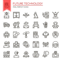 Future Technology , Thin Line and Pixel Perfect Icons.