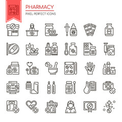 Pharmacy Elements , Thin Line and Pixel Perfect Icons.