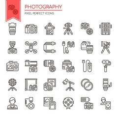 Photography Elements , Thin Line and Pixel Perfect Icons.