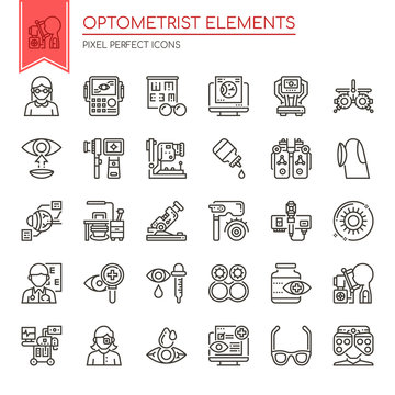 Optometrist Elements , Thin Line and Pixel Perfect Icons.