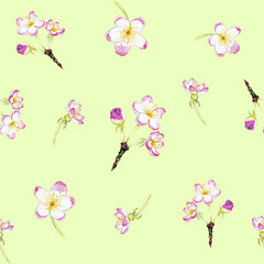 hand drawn watercolor spring pattern