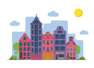 Amsterdam cityscape at sunny day. Old houses with church and cafe
