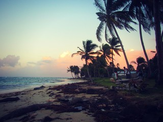 A tropical pink sunset on Corn Island, Nicaragua