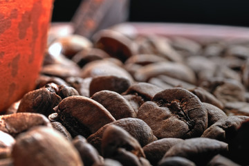 Fragrant coffee beans background for