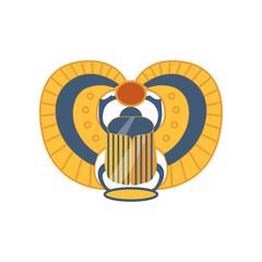Scarab Egyptian sacred bug, symbol of the sun cartoon vector Illustration