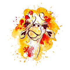 Giraffe vector illustration for t-shirt. Portrait of safari giraffe with watercolored background and splashes