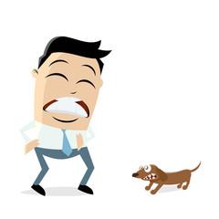 man is afraid of a little dog