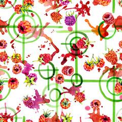 Tasty, ripe, garden, red, fragrant, forest raspberry. Useful, orange, round berry. Green target. Fruit, berry, vegetable juice. Watercolor. Illustration
