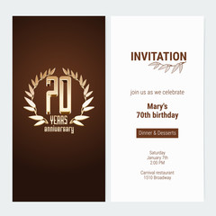 70 years anniversary invitation to celebrate the event vector illustration