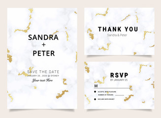 Marble Wedding Invitations set ,Thank you card, RSVP card,Place Cards, Business card, Brand identity, Stationary with marble vector cover.