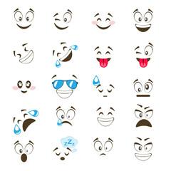 Set of cute emoticon.
