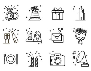 Wedding timeline outline icons set