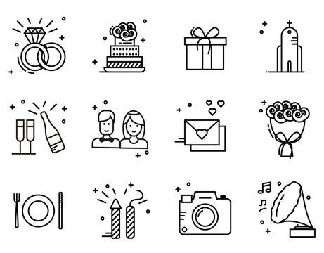 Wedding timeline outline icons set