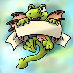 Illustratie felle kleuren draak