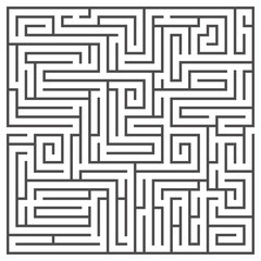 Square maze isolated on white background. Medium complexity.