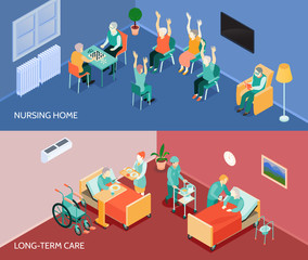 Nursing Home Isometric Horizontal Banners