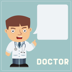 Isolated doctor with bubble speech in cartoon style. Strict doctor says important information about health.