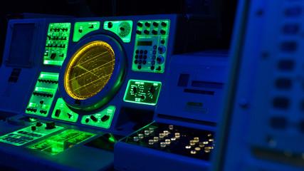 Close up of an Military Marine Radar, from an US Aircraft Carrier.