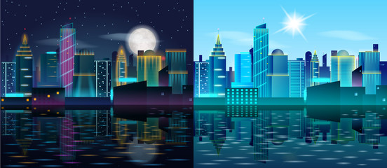 Big city day and night landscape. Skyscrapers in neon lights. Sunny day and night with full moon. Buildings reflection in the water. Vector illustration of metropolis