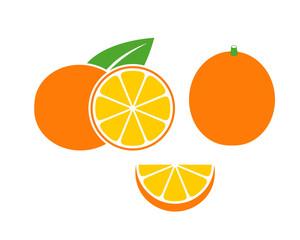 Orange set. Isolated orange on white background