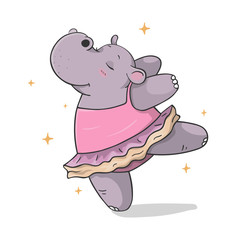 colorful hand drawn cartoon hippo dancing ballet in a tutu isolated on white background. outline vector illustration. dancing animals. Children's illustration vector