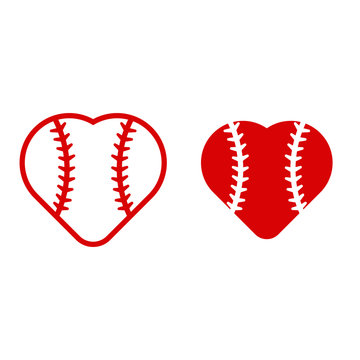 Baseball heart icons