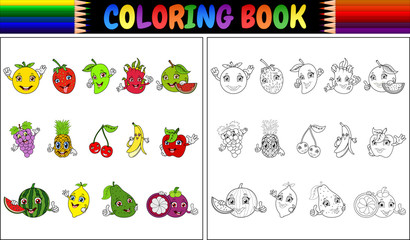 Coloring book with cute cartoon fruits