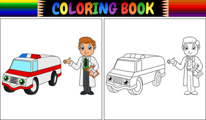 Coloring book with young doctor and ambulance car